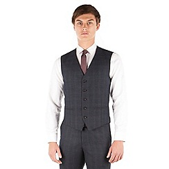 Red Herring - Navy heritage check slim fit suit waistcoat
