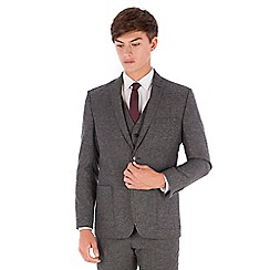 Red Herring - Grey donegal wool blend patch pocket 2 button front slim fit suit jacket