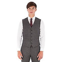 Red Herring - Grey donegal wool blend 5 button slim fit suit waistcoat
