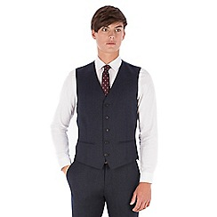 Red Herring - Blue donegal wool blend 5 button slim fit suit waistcoat