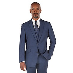 Centaur Big & Tall - Bright blue semi plain big and tall 2 button front regular fit suit jacket