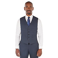 Centaur Big & Tall - Navy tonal check big and tall 5 button front suit waistcoat
