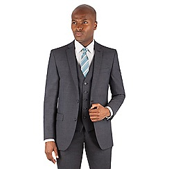 Ben Sherman - Charcoal plain 2 button front slim fit kings suit jacket