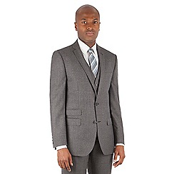 Ben Sherman - Grey jaspe check 2 button front slim fit kings suit jacket