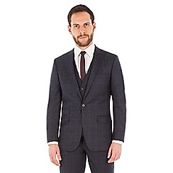 Ben Sherman - Slate blue tonal check 2 button front slim fit kings suit jacket