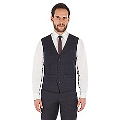 Ben Sherman - Slate blue tonal check wool blend slim fit kings waistcoat