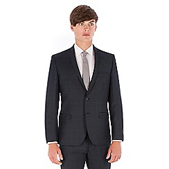 Ben Sherman - Navy heritage check wool blend 2 button front super slim fit camden suit jacket