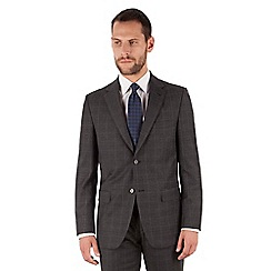 Jeff Banks - Jeff Banks Charcoal windowpane 2 button front regular fit black label suit jacket