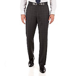 Jeff Banks - Jeff Banks Blue with charcoal windowpane regular fit black label suit trouser