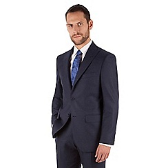 Jeff Banks - Blue flannel 2 button front regular fit black label suit
