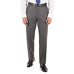 Jeff Banks - Jeff Banks Grey with blue check plain front regular fit luxury suit trouser