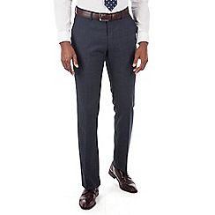 Hammond & Co. by Patrick Grant - Navy tonal check plain front tailored fit suit trouser