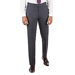 Hammond & Co. by Patrick Grant - Hammond & Co. by Patrick Grant Blue jaspe check plain front tailored fit savile row suit trousers