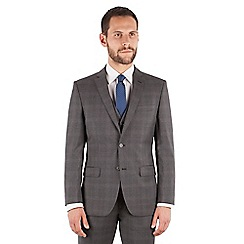 J by Jasper Conran - J by Jasper Conran Grey check 2 button front tailored fit italian suit jacket