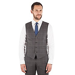 J by Jasper Conran - J by Jasper Conran Grey tonal check 4 button front tailored fit Italian suit waistcoat