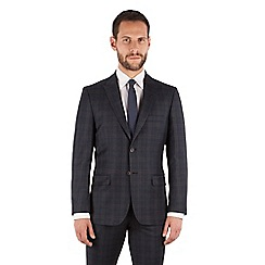 J by Jasper Conran - J by Jasper Conran Navy with caramel check 2 button front tailored fit luxury italian suit jacket
