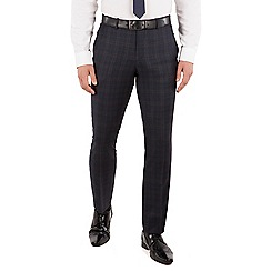 J by Jasper Conran - J by Jasper Conran Navy with caramel check flat front tailored fit luxury suit trouser