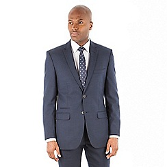 Racing Green - Navy flannel wool blend 2 button tailored fit suit