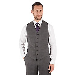 Jeff Banks - Jeff Banks Grey check 6 button travel suit waistcoat