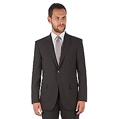 Jeff Banks - Jeff Banks Charcoal stripe regular fit 2 button travel suit