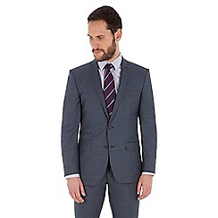 Ben Sherman - Slate blue jaspe wool blend 2 button front slim fit kings suit