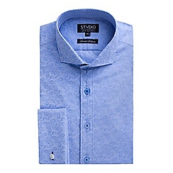 Stvdio by Jeff Banks - Limited Edition Light Blue Swirl Floral Jacquard Shirt