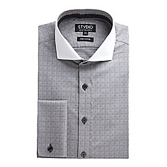 Stvdio by Jeff Banks - Grey Dobby Squares Shirt
