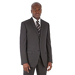 Stvdio by Jeff Banks - Charcoal textured tailored fit 2 button suit with nanotex finish suit