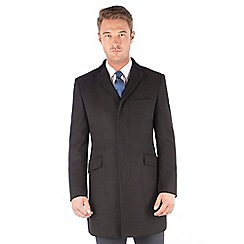 Ben Sherman - Black melton 3 button kings slim fit overcoat