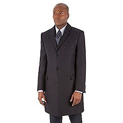 Racing Green - Navy blue herringbone wool blend tailored fit overcoat