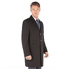 The Collection - Black melton wool blend regular fit overcoat