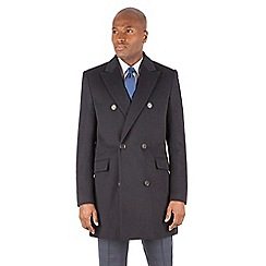 Hammond & Co. by Patrick Grant - Navy textured wool blend double breasted tailored fit coat