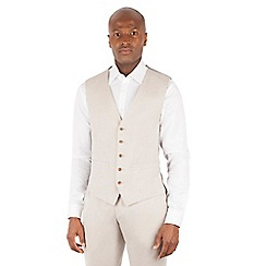 Racing Green - Oatmeal linen tailored fit 5 button front waistcoat
