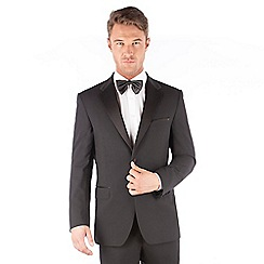 Jeff Banks - Jeff Banks Black plain 2 button front regular fit dinner suit