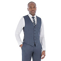 Hammond & Co. by Patrick Grant - Slate blue textured wool blend 6 button tailored fit suit waistcoat