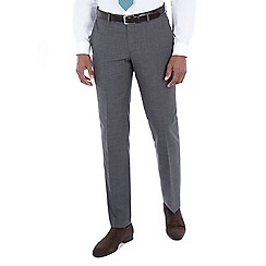 Hammond & Co. by Patrick Grant - Grey tonal check wool blend plain front tailored fit suit trouser