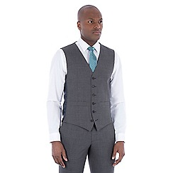 Hammond & Co. by Patrick Grant - Grey tonal check wool blend 6 button tailored fit suit waistcoat