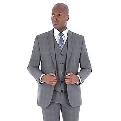 J by Jasper Conran - Grey tonal check wool blend tailored fit suit