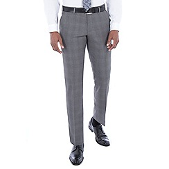 J by Jasper Conran - Grey tonal check wool blend tailored fit suit trousers