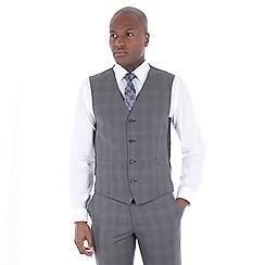 J by Jasper Conran - Grey tonal check wool blend tailored fit waistcoat
