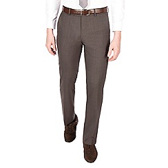 J by Jasper Conran - Brown puppytooth pure wool tailored fit suit trouser