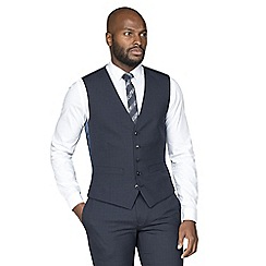 Racing Green - Navy broken check wool blend tailored fit waistcoat