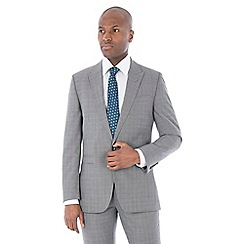 Racing Green - Grey textured wool blend tailored fit suit jacket