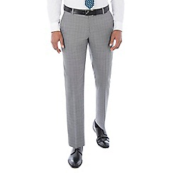 Racing Green - Grey textured wool blend tailored fit suit trouser