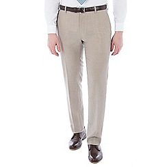 Racing Green - Oatmeal linen wool blend plain front tailored fit suit trouser