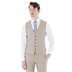 Racing Green - Oatmeal linen wool blend tailored fit waistcoat
