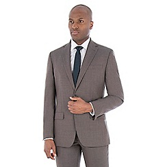 Racing Green - Brown jaspe wool blend tailored fit suit