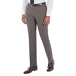 Racing Green - Brown jaspe wool blend tailored fit suit trouser