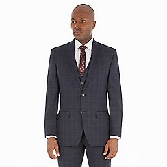 Racing Green - Navy check wool blend tailored fit suit jacket