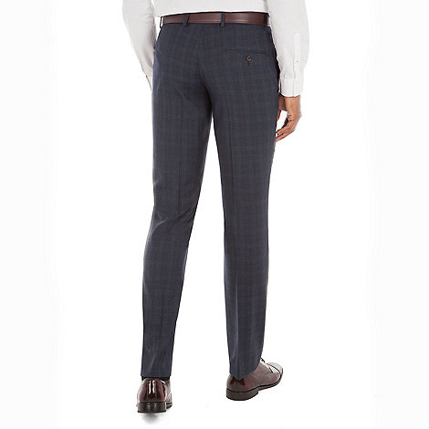 Racing Green - Navy check wool blend tailored fit suit trouser